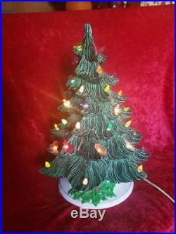 Vintage Ceramic Christmas Tree 16 Tall Lighted Bird & Butterfly Bulbs