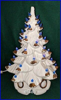 Vintage Ceramic Christmas Tree 16 White withGold Tips Atlantic Mold