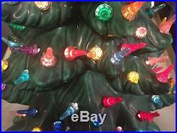 Vintage Ceramic Christmas Tree 18 ATLANTIC Mold Lighted Green with Music Box