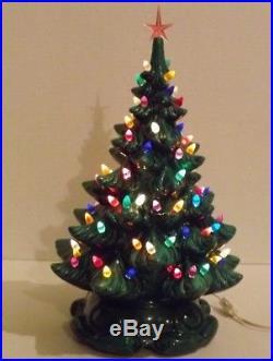 Vintage Ceramic Christmas Tree 19 Atlantic Mold Multi Color Green Tree Nice