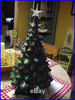 Vintage Ceramic Christmas Tree 19 Musical Multicolored Free Shipping