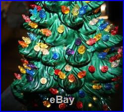 Vintage Ceramic Christmas Tree 2 Piece 19 Tall TONS OF LIGHTS 1970's RARE