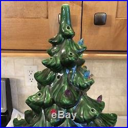 Vintage Ceramic Christmas Tree -24 Inches Tall- Lights Up-2 Pieces