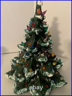 Vintage Ceramic Christmas Tree Atlantic Mold 16 Flocked Snow 2 Piece Great Cond