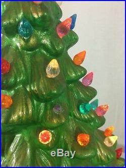 Vintage Ceramic Christmas Tree Decoration Light Up Green Large 19