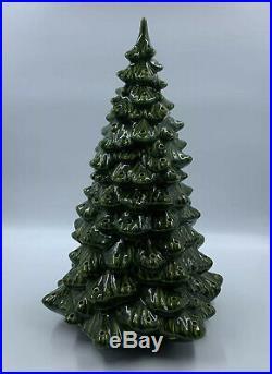 Vintage Ceramic Christmas Tree Ex Large 19 Tall No Base No Bulbs Chips READ