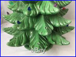 Vintage Ceramic Christmas Tree Green w Multi Color Lights 23 Table Top Musical
