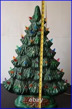Vintage Ceramic Christmas Tree HTF Flat Mantle Window Display Piece 27 Tall
