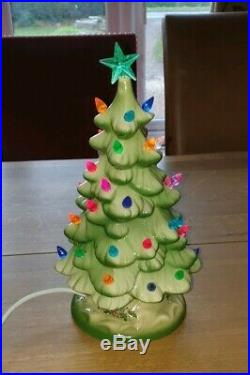 Vintage Ceramic Christmas Tree. Lamp Light Base. Large