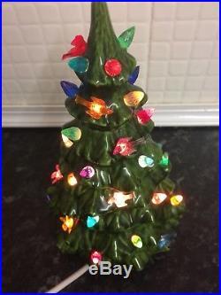 Vintage Ceramic Christmas Tree Lamp Working Retro Birds 8 1/2 Inches