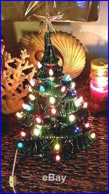 Vintage Ceramic Christmas Tree Light Up Byron Mold 1970 Large Excellent