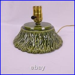 Vintage Ceramic Christmas Tree Snow Flocked Lamp Base 70s Signed Lamp 16in