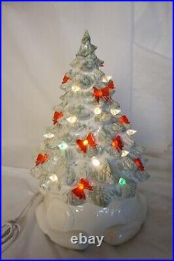 Vintage Ceramic Christmas Tree White Musical Silent Night Lighted Red Bows 2 Pc
