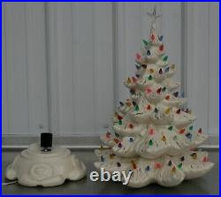 Vintage Ceramic Christmas Tree White With Gold 21 Tall Atlantic Mold Star