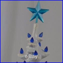 Vintage Ceramic Christmas Tree White with Blue Lights Flocked Musical Large 1970