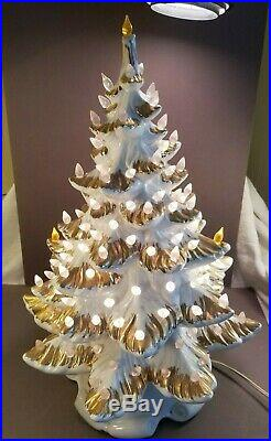 Vintage Ceramic Christmas Tree White withGold Lighted Works 20 Tall