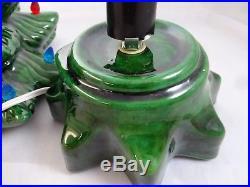 Vintage Ceramic Dark Green Christmas Tree 14.5 Multi Color Lights Tabletop