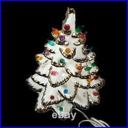 Vintage Ceramic Flocked Christmas Tree 14 With White Gold Trim Music Box 2 Pc LG