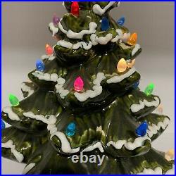 Vintage Ceramic Flocked Christmas Tree 16 inch Emerald Green Multi Color Lights