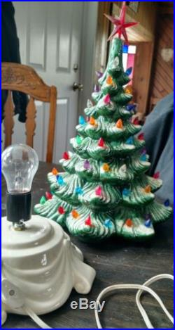 Vintage Ceramic Green Lighted Christmas Tree With Stand Glenview Mold 1979