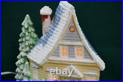 Vintage Ceramic Light Up Christmas House & Trees Flocked Snow Covered & Glitter