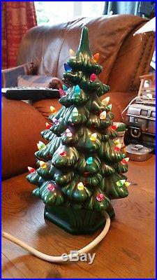 Vintage, Ceramic, Light Up, Christmas Tree, Working, handmade