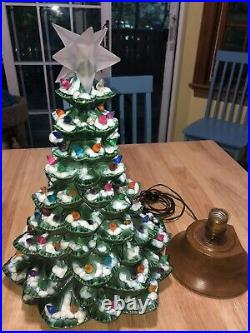 Vintage Ceramic Light Up Christmas Tree withBase and Star 16 Complete 5/00