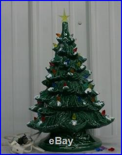 Vintage Ceramic Lighted Christmas Tree Holiday Decor Table Top Original Box