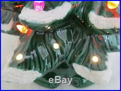 Vintage Ceramic Lighted Christmas Tree Large 19.75 Tall with Snow