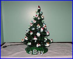 Vintage Ceramic Mold Christmas Tree Lit Base Christmas Tree 16 Marked Eldora