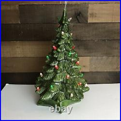 Vintage Ceramic Molded Green Christmas Tree Unbranded 18 Inches 2 Pieces