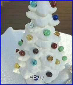 Vintage Ceramic WHITE Sparkle Marbles Christmas Tree Flocked with Lighted Base