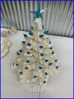 Vintage Ceramic White Christmas Tree Large Blue Tips