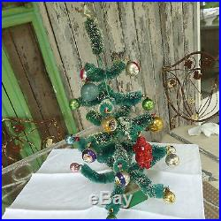 Vintage Chenille/Flocked Christmas Tree /w Old Ornaments W Germany 19Tx11W