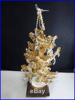 Vintage Christmas Bottle Brush Tree Ornaments Wood Base GOLD and crystal ball