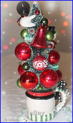 Vintage Christmas Bottle Brush Tree with Snowman Cup Decoration Ornaments Winter