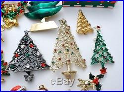 Vintage Christmas Brooches Lot of 34 Tree Santa Claus Pins Rhinestone Enamel