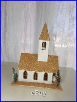 Vintage Christmas Cardboard MICA PUTZ Village CHURCH with BOTTLE BRUSH TREES