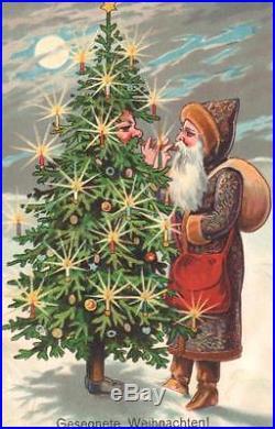 Vintage Christmas Fantasy Postcard Tree-santa Meets Santa Both Light Cigars Moon