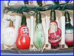 Vintage Christmas Figural Tree Decoration Lights Bulbs Glass Bulbs Working