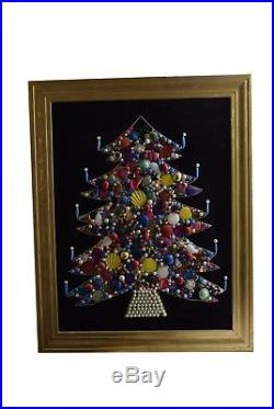 Vintage Christmas Framed Picture Christmas Tree Lighted Jewelry 28 x 22