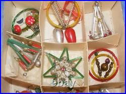 Vintage Christmas Glass Tree Ornament Baubles Antique Beaded Wire Plastic OLD