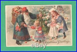 Vintage Christmas Htl Postcard Santa Claus Basket Toys Children Tree Snow