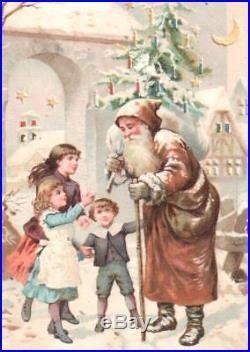 Vintage Christmas Htl Postcard Santa Claus Tree Children Village Moon Stars Snow