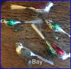 Vintage Christmas Mercury Glass Bird Clip On Ornament Germany w Box Trim-a-Tree