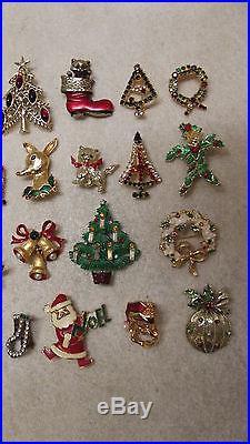 Vintage Christmas Pin Brooch Lot Of 24 Trees Wreaths Bells Reindeer Candles