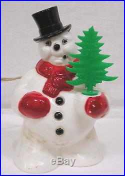 Vintage Christmas Royal Electric SNOWMAN with Tree Light 1950 Best I've Seen