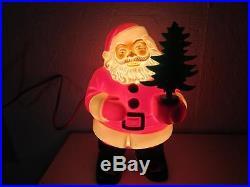 Vintage Christmas Royalite Plastic Lighted Santa Claus w Tree Royal Electric