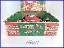 Vintage Christmas SANTA-GLO Light Up Tree Topper Wall Plaque Glolite Corp