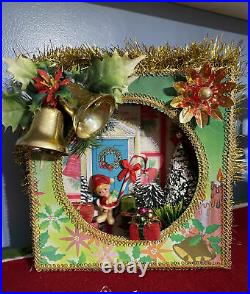 Vintage Christmas Shadowbox Diorama Tree Topper Box All Vintage OOAK
